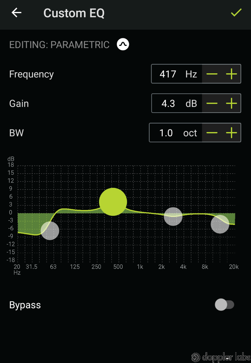 The mobile app allows you to create your own EQ presets