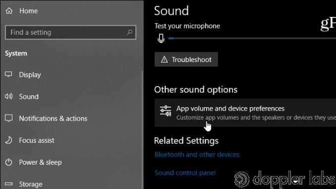 Sound adjustment in the settings